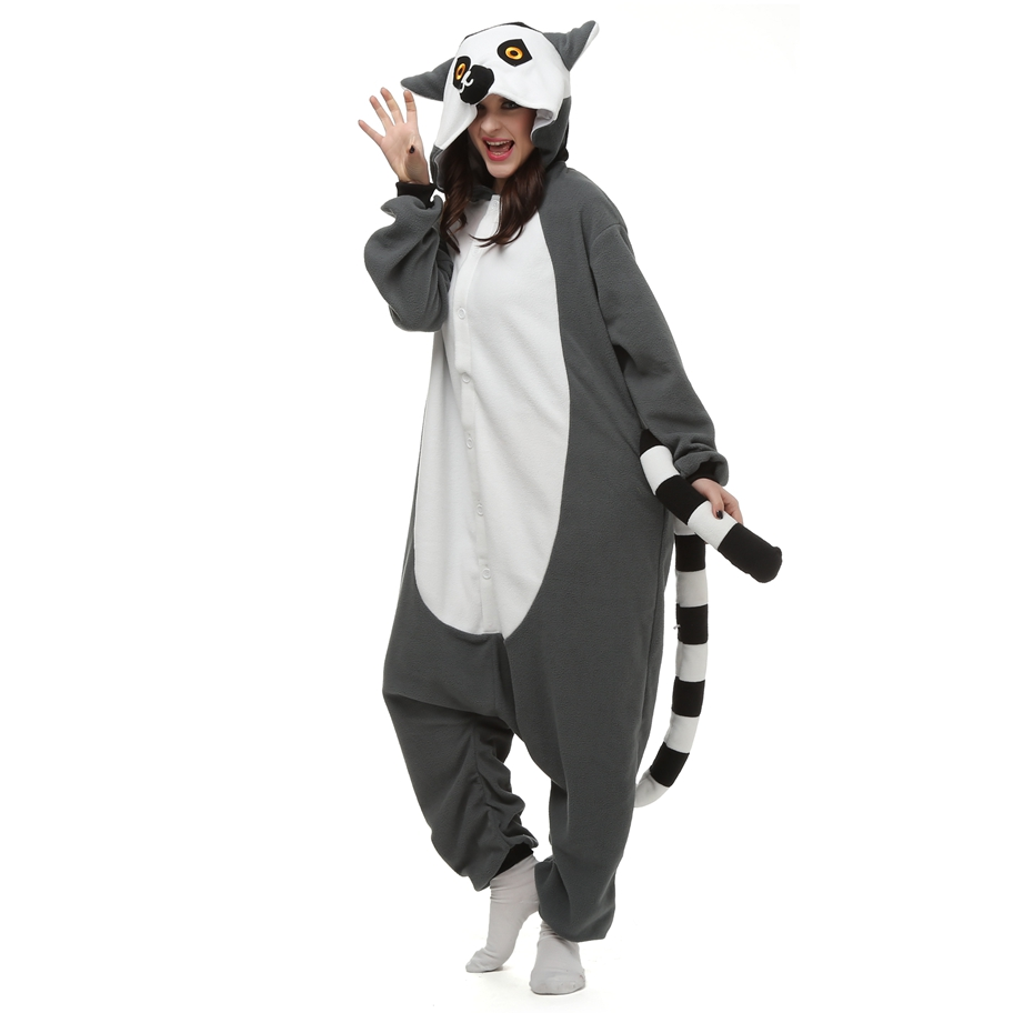 Adults Animal Onesie Lemur Long Tail Monkey Unisex Womens Couple Pajamas Set Fleece Pijama Feminino LTY10