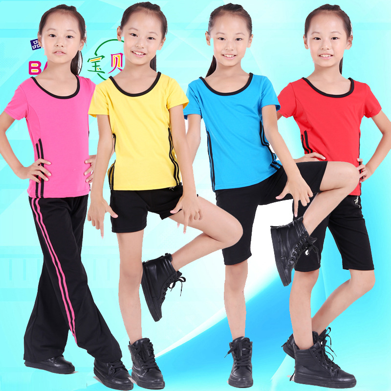 children boy girl Aerobics Clothing short sportswear  suit Broadcast gymnastics kickboxing dance costume clothes for kid