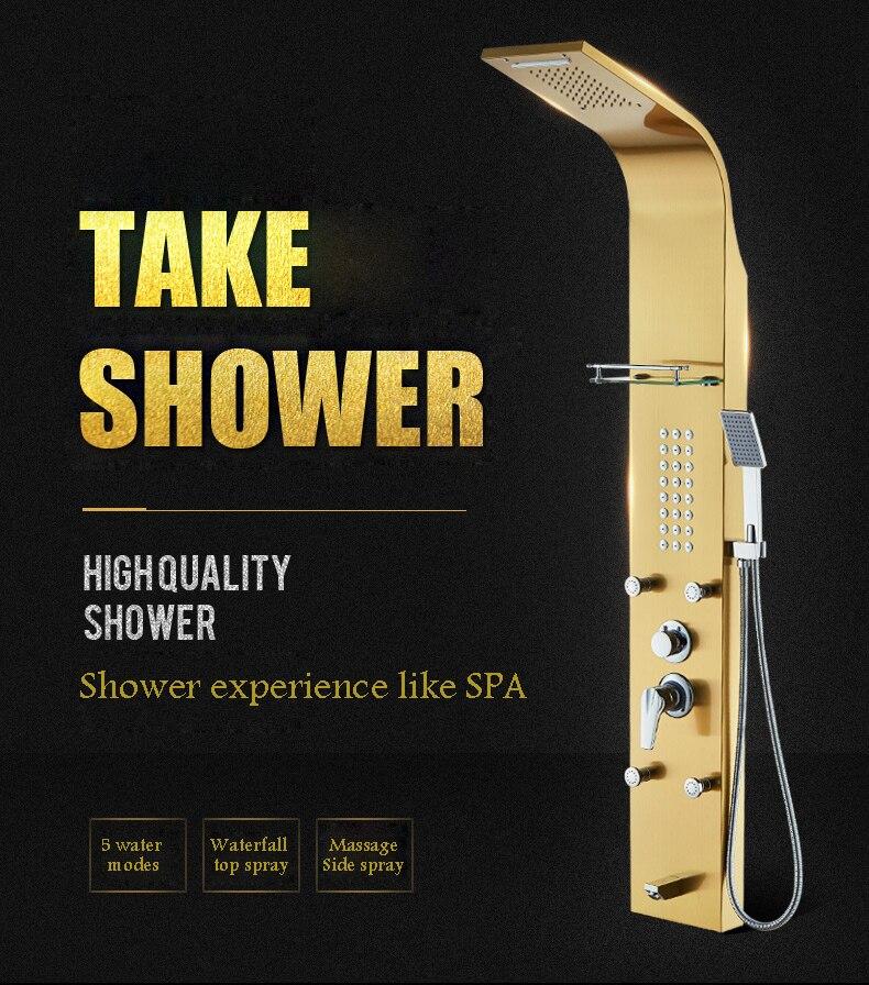 Shower Panel Gold Black Silver black Stainless Steel Shower Head Bathroom Shower set Column Multifunction Shower