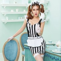 JSY Women Soft Sexy French Maid Costume Black and White Night Dress High Grade Erotic Maid Suit Carnival Dress Porno 6258