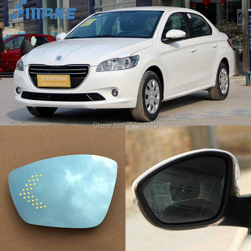 smRKE For Peugeot 307 Car Rearview Mirror Wide Angle Hyperbola Blue Mirror Arrow LED Turning Signal Lights