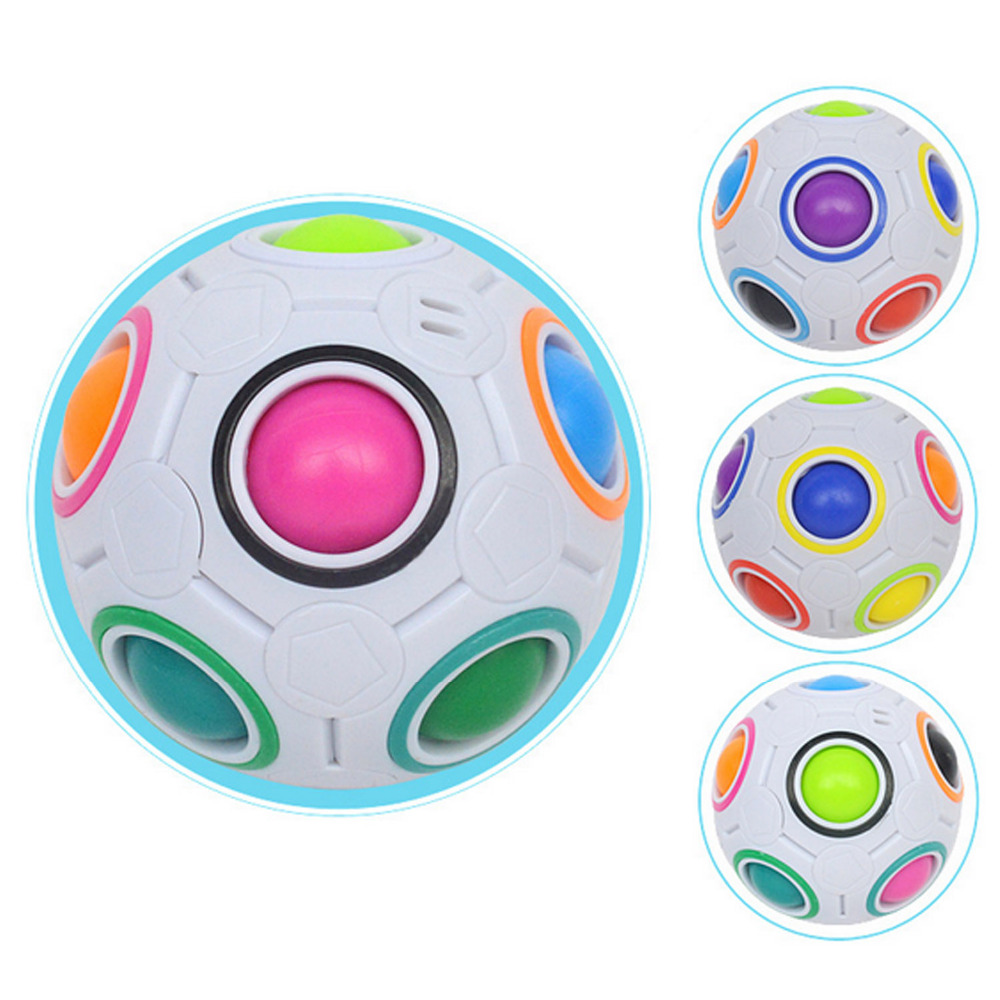 Satkago 2pcs Anti Stress Puzzle Fun Magic Rainbow Ball Cube Fidget Balls for Children Kids Adults Relieves Stress Anxiety Toys