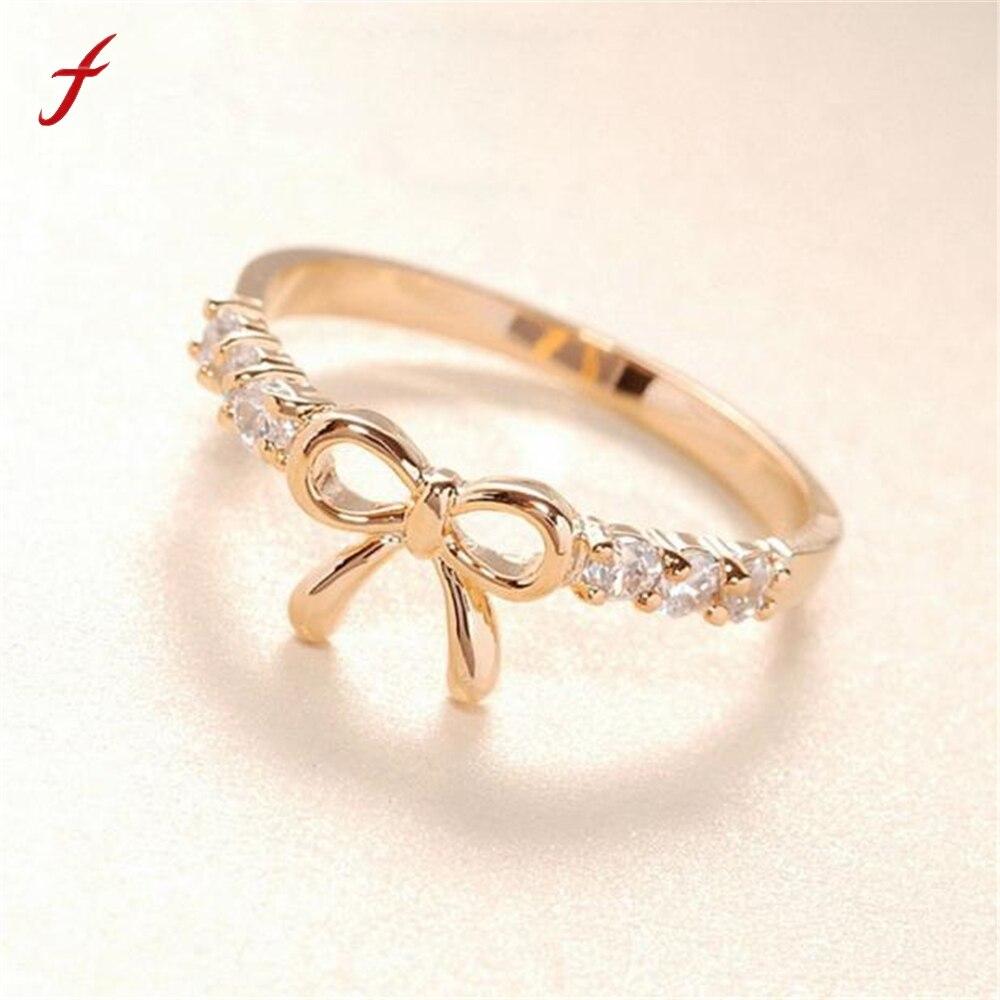 Jewelry Headwear Silver Korean-Style Girls Hot-Sale Women Bow-Shape Crysta Rings Gold