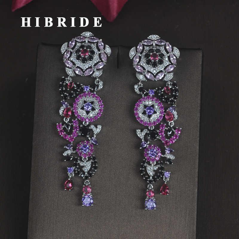 HIBRIDE Charm Multicolor ดอกไม้รูปร่าง Cubic Zircon ผู้หญิงเจ้าสาว Drop ต่างหู Dangle ต่างหู Pendientes mujer moda E-684