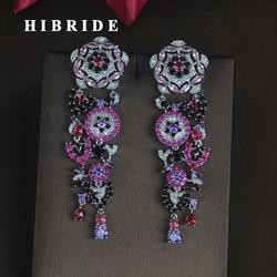 HIBRIDE Charm Multicolor Flower Shape Cubic Zircon Women Bride Drop Earrings Dangle Earring Pendientes mujer moda E-684