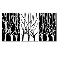 Home decor modern No Frame mural abstract black and white trees Oil Paintings on Canvas 3pcs home Decor Wall Art for living room