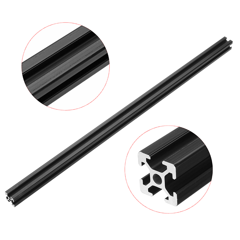 New Arrival 200mm/250mm/300mm/350mm/400mm/450mm/500mm Length Black Anodized 2020 T-Slot Aluminum Profile Extrusion Frame For CNC