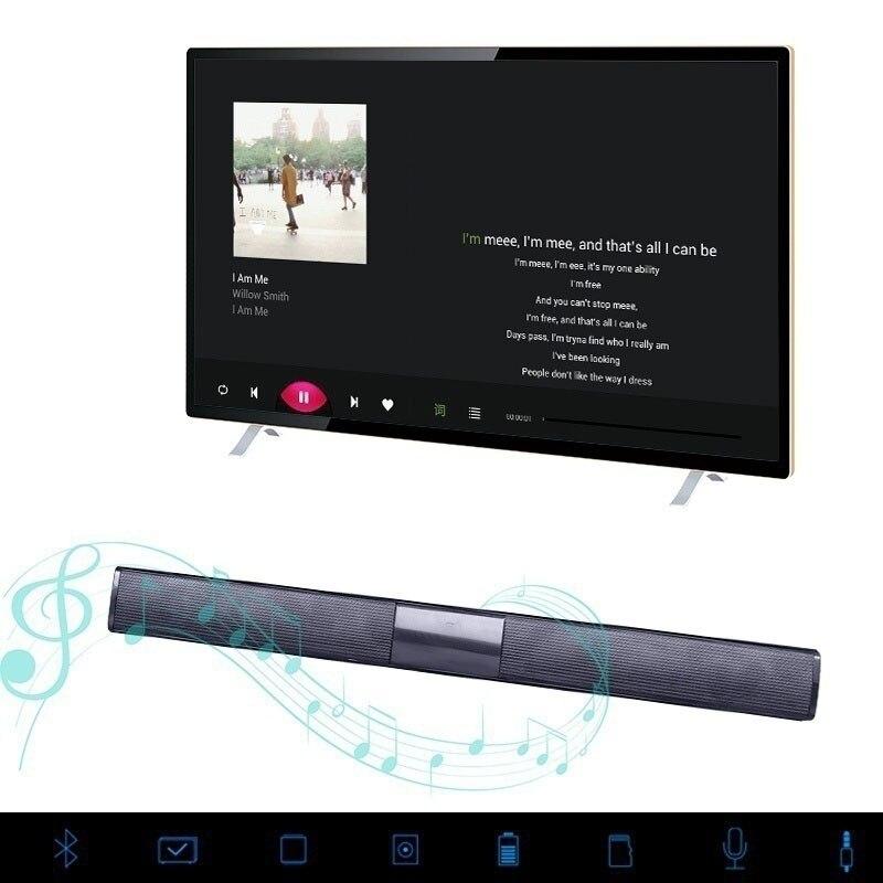 Portable Wireless Bluetooth Soundbar Stereo Speaker TV Home Theater TF USB Sound Bar(Black) shunpad bs 28 wireless bluetooth sound bar speaker television audio fiber coaxial television soundbar sound portable speaker