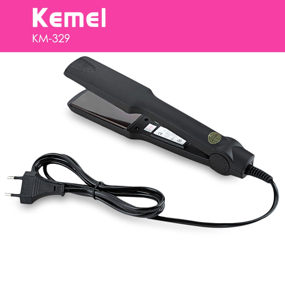 KEMEI Brand KM-329 Electric Hair Straightening Iron Tourmaline Ceramic Heating Plate Hair Straightener Styling Tools EU PLUG 110 240v kemei ceramic hair straightener temperature control heating flat iron professional straightening iron styling tools