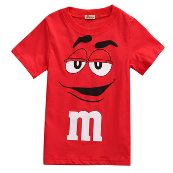 Summer Cartoon Baby Kid Boy Kids mms Tee T-Shirt T Shirt Top Casual Children Candy Silly Character Chocolate Summer Age 2-7Y