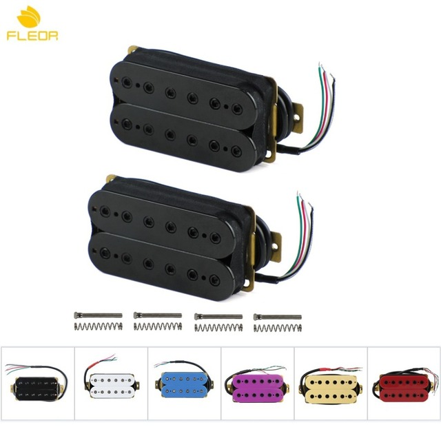 FLEOR Double Coil Humbucker Pickup Set Electric Guitar Bridge Neck Pickup Passive Ceramic 4 Wires Multi_640x640 double coil humbucker pickup wiring diagram all wiring diagram