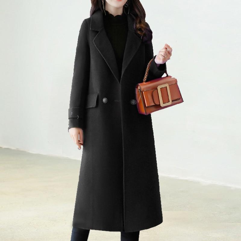 Veste Office Long Large Poitrine caramel Mode Noir Dames Lady Coréenne De Femmes Laine Taille Unique À Mélange Manteau rPwrFBq