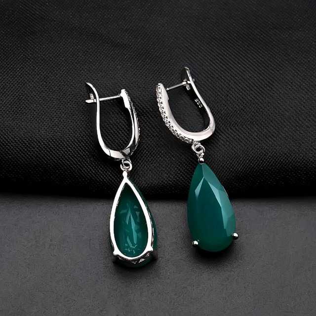 Gems Ballet 10.82ct 10x20mm Natural Green Agate Drop Earrings Fine Jewelry Solid 925 Sterling Silver Gorgeous Earrings For Women-in Earrings from Jewelry & Accessories on Aliexpress.com | Alibaba Group