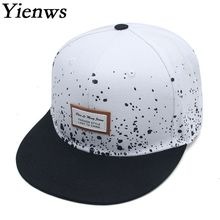 Yienws Flat Full Baseball Cap for Men Fmale Straight Hip Hop Gorras Planas Snapback Cap Black White Casquette Touca YIC078
