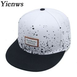 Yienws Flat Full Baseball Cap for Men Fmale Straight Hip Hop Gorras Planas Snapback  Cap Black White Casquette Touca YIC078 7f4434192fee