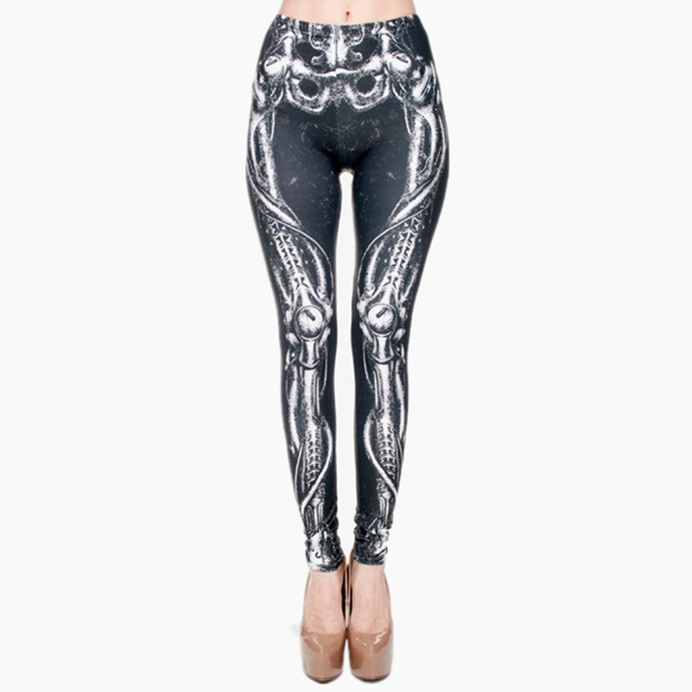 Biomechanical Black Graphic Full Print Leggings Women Fitness Legging Stretchy Trousers Leggings Pants