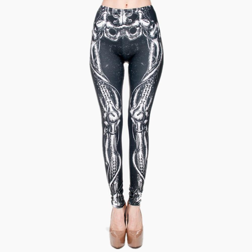 Biomechanical Black Graphic Full Print Leggings Women Fitness Legging Stretchy Trousers Leggings Pants