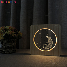 LED 3D Visual Night Light Carton Bear Moon Lamp Warm Color USB Lighting as Kids Baby Bedroom Lving Room Decor Gift