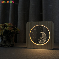 LED 3D Visual Night Light Carton Bear Moon Night Lamp Warm Color USB Lighting as Kids Baby Bedroom Lving Room Decor Gift