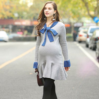 Maternity Dress Europe Station New Pattern Bow Chalaza Knitting Dress Easy Lotus Leaf Edge Sweater Rendering