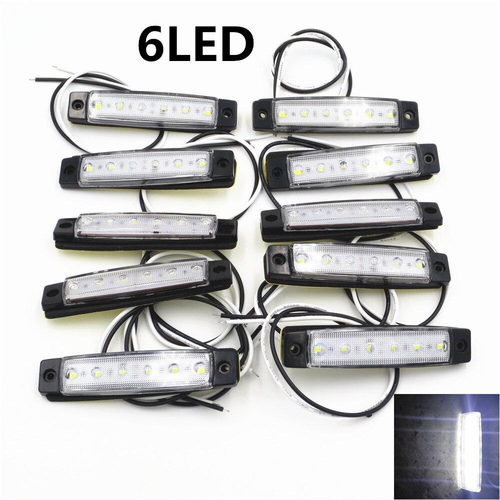 10Pcs White 6LED Bus Van Truck Trailer Side Marker Indicators Lights Lamp 12V 24V