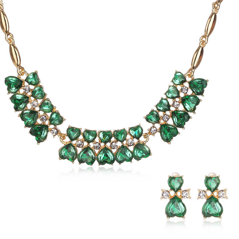 CWEEL Indian Bridal Jewelry Sets Imitation Crystal Nigerian Wedding African Beads Jewelry Set Statement Gold Color Necklace Set