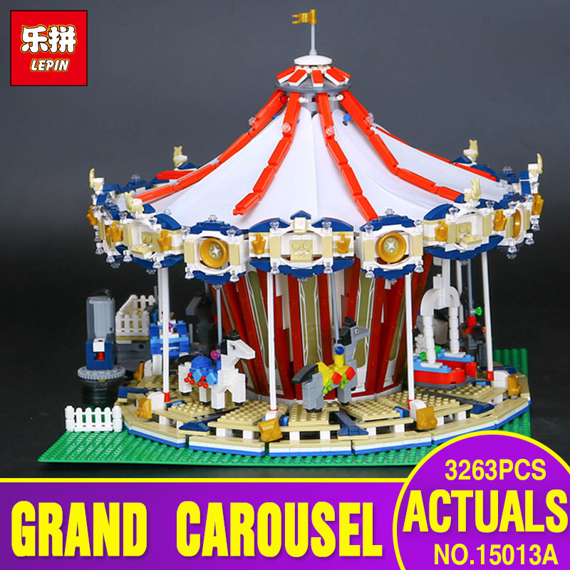 New Lepin 15013 City Street Carousel Model Building Kits Assembling Blocks Toy Compatible with 10196 toys Educational Toys Gifts 15008b 2462pcs dhl city street green grocer model building kits blocks bricks toys gifts compatible 10185 lepin