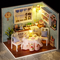 Wooden Dolls house DIY Kits Handcraft Miniature Dollhouse Kitchen LED Light/Dust Cover & All furnitures Girl Gift