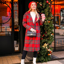 GCAROL New Fall Winter England Red Plaid Overcoat Notched Collar Worsted Blends OL Work Long Coat Single-breasted Outwear