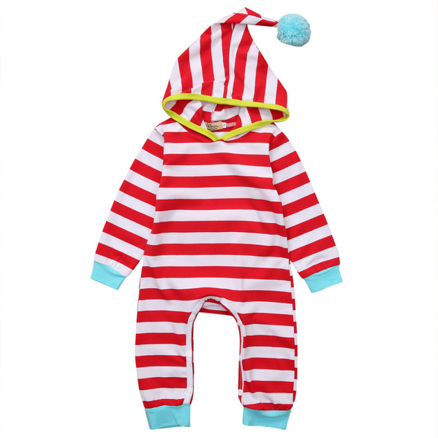 b60a848b53e7 Red Color Newborn Baby Boy Girl Clothes Long Sleeve Striped Hooded ...