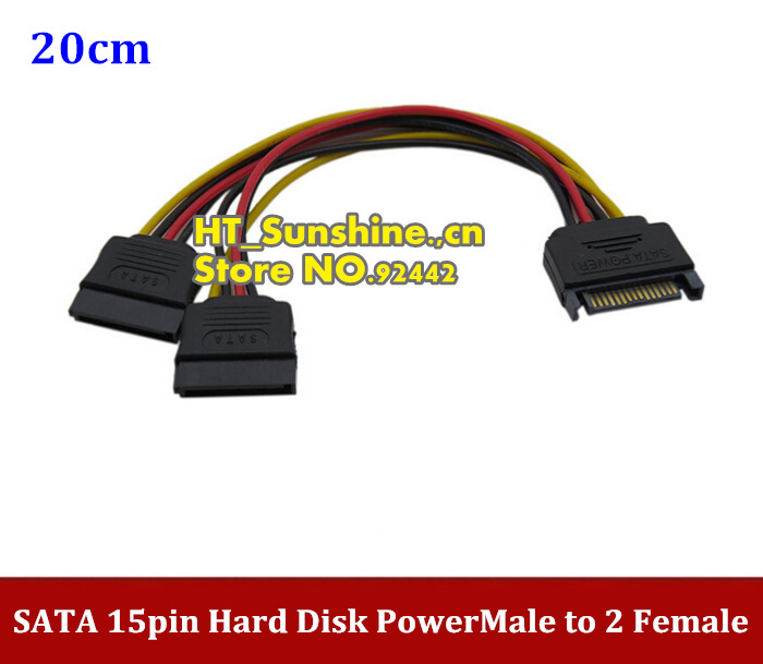 все цены на 20PCS/LOT Free Shipping  NEW SATA 15pin Hard Disk Power Male to 2 Female Splitter Y 1 to 2 extension Cable онлайн