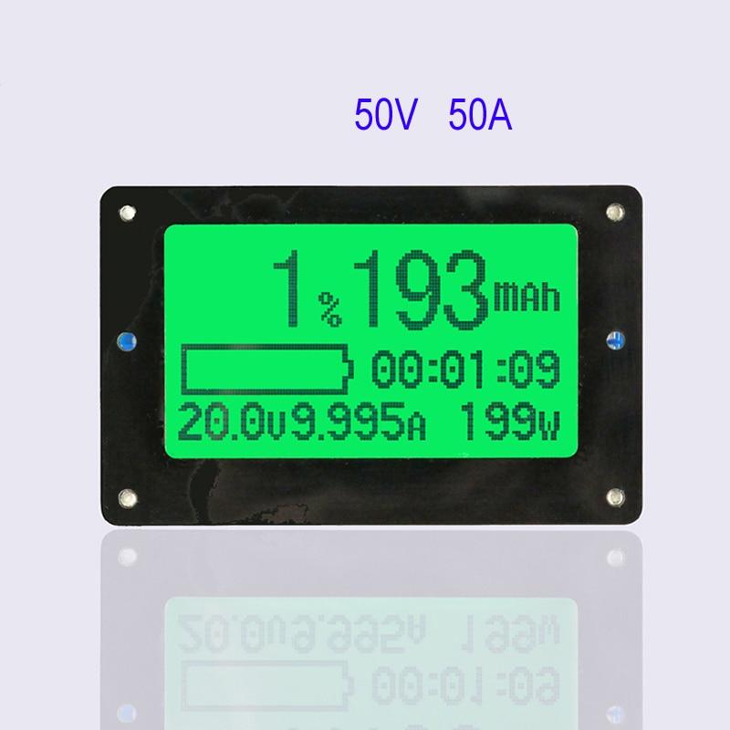 50V 50A Coulometer TF02 Large Screen Coulomb Meter Battery Tester Remaining Capacity Indicator Display вольтметр 50v 50a lifepo4 lipo tf01n