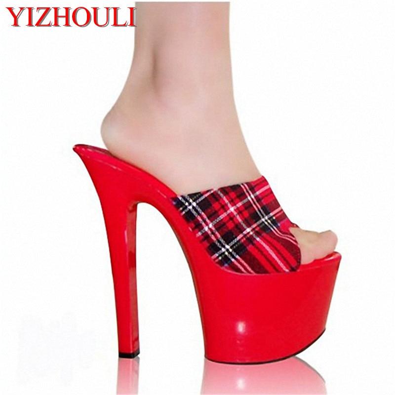 7 дюймов; Новое поступление; женские пикантные босоножки на высоком каблуке; шлепанцы с открытым носком; женская обувь; женские шлепанцы в шотландском стиле; экзотические туфли