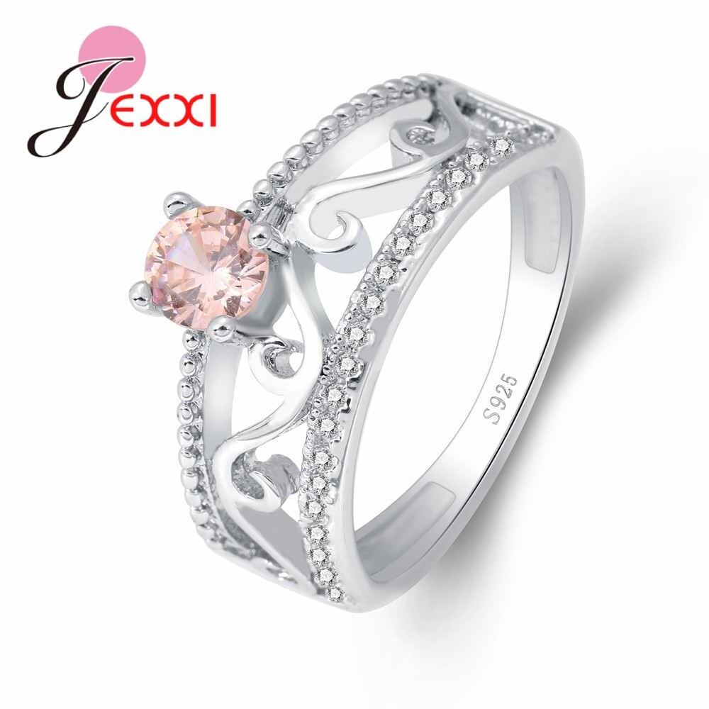 Verlobungsringe UnermüDlich Jexxi Exquisite Rosa Runde Kristall Stein Ring Geometrische Muster Jahrestag Ornament 925 Sterling Silber Und Cz Seien Sie Im Design Neu