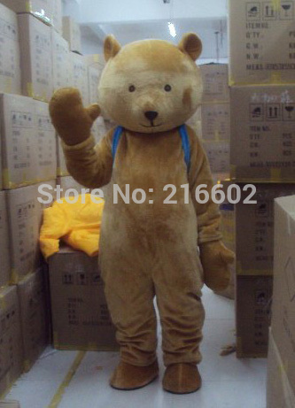 2017 high quality Brown teddy bear gentleman suit adult mascot costume