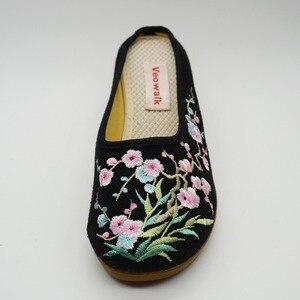 Image 3 - Veowalk גבוהה סוף פרחוני רקום נשים של בד מזדמן נעלי טריז בינוני העקב קיץ Comfot שקופיות נעלי Sandials Mujer