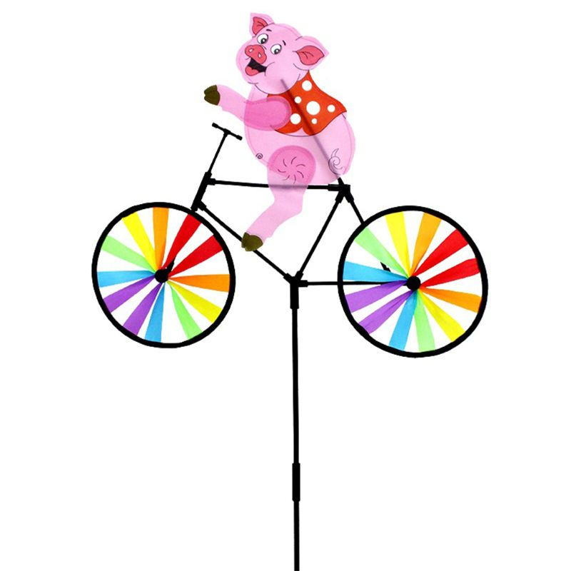 New Arrive Cute 3D Animal Pig On Bike Windmill Whirligig Garden Lawn Yard Decor Wind Spinner