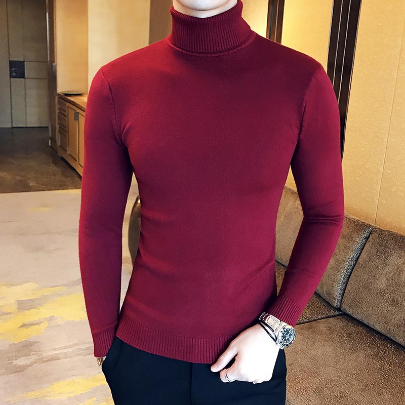 Wool Pullover Men's Sweaters Men Turtleneck Autumn Clothing Casual Red New Top Black