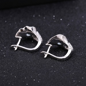 Image 4 - GEMS BALLET 3.02Ct Natural Swiss Blue Topaz 925 Sterling Silver Handmade Callalily Leaf Ring Earrings Jewelry Sets For Women
