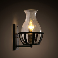 American retro glass bottle iron simple industrial garden exterior modeling lighting wall lamp LO8145