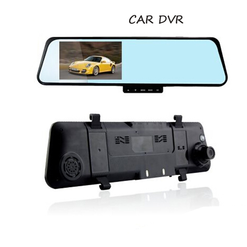 High Quality Car Dvr Camera V180 Dual Lens 4.3 LCD Display Full HD 1080P Car Camera Video Recorder With Rearview Mirror G-Senso