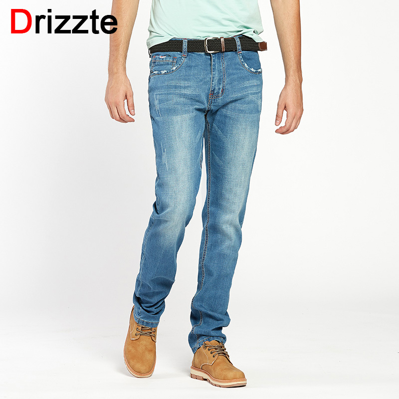 Drizzte Summer Mens Jean Plus Size 28-48 Blue Black Denim Stretch Jeans Pants Distressed Pockets Jeans Big Large Sizes Trousers car rear trunk security shield cargo cover for jeep compass 2007 2008 2009 2010 2011 high qualit auto accessories