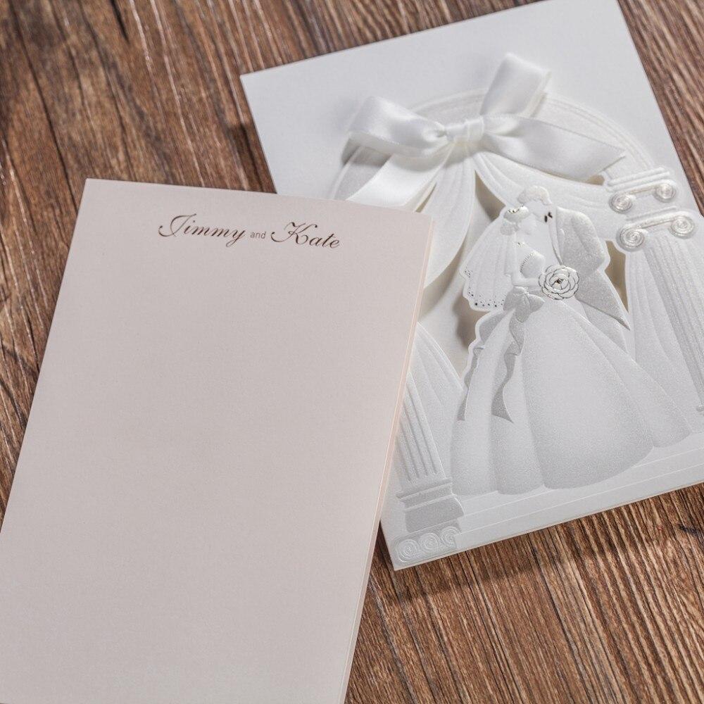 100pcs/Lot Wishmade White Bride and groom Wedding Invitation Card ...
