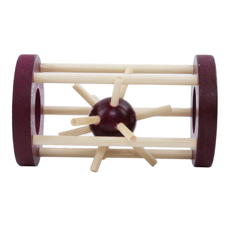 1Pc Wooden Intelligence  Lock Take Out Spiked Ball Brain Teaser For Kids Adults Puzzle Toy Office Desk Decor