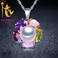 Coloful NYMPH 9-10mm natural pearl Necklaces & Pendants jewelry 925 sterling silver Colares Femininos