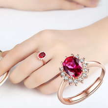 Exquisite Red Gems Ring Women's Red Zirconia Cocktail Ring Rose Gold Silver Color Ring With Opening Ring Silver Jewelry цена и фото