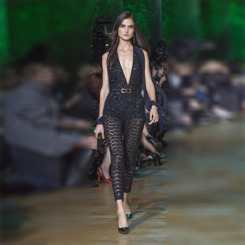 Nouvelle mode vente chaude Sexy col en V femmes combinaison maille voir à travers la conception chaude spectacle Style fête Sequin combinaisons livraison directe