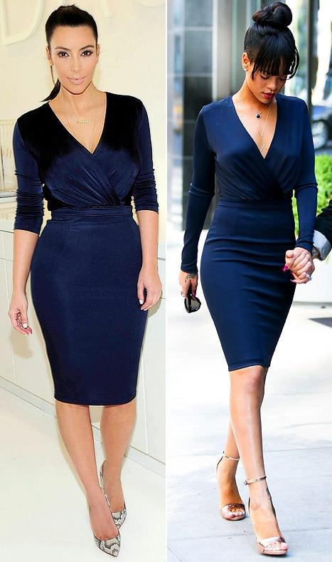 Kim Kardashian Rihanna Dark Navy V Neck Sheath Knee Length