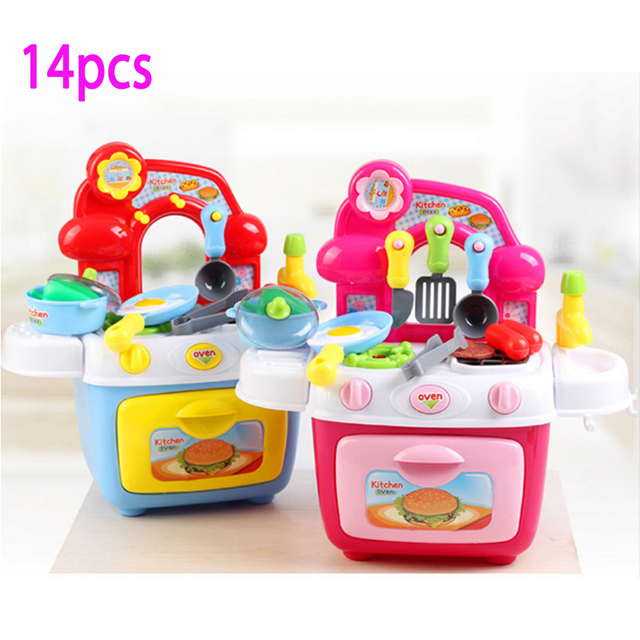 New 14 Pcs Pretend Play Children's Kitchen Toy Kitchen Set With Light Sound Simulation Cooking Dinner Tableware Plastic Toy