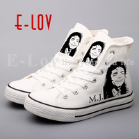 E LOV Hip Top Printed Michael Jackson Rock And Roll Canvas Shoes Lace Up White Casual